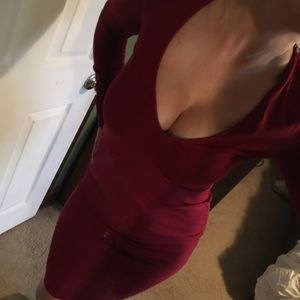 NWT Long sleeve Cotten red dress